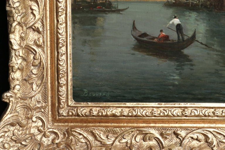 Oil on original canvas circa 1920 by Antoine Bouvard Snr depicting a gondola sailing on the canal in Venice. Signed lower left. Framed dimensions are 27 inches high by 33 inches wide.  Antoine Bouvard Senior - also known as Marc Aldine - is one of