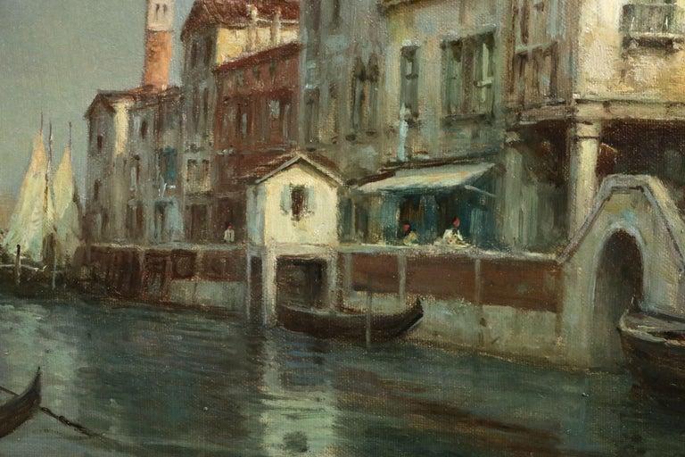 Venice - 19th Century Oil, Gondolas on Canal Landscape by Antoine Bouvard Snr 1