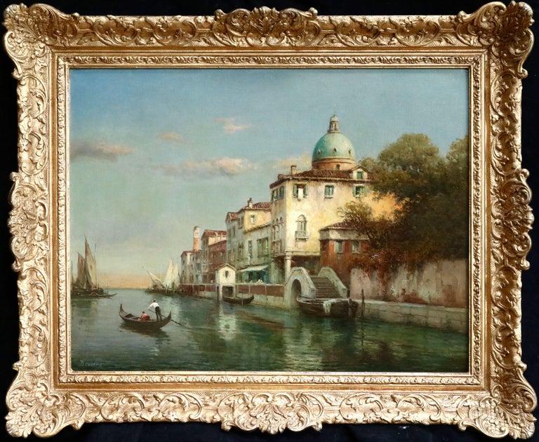 Antoine Bouvard Snr.  Landscape Painting - Venice - 19th Century Oil, Gondolas on Canal Landscape by Antoine Bouvard Snr
