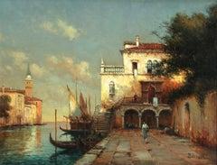 Venice - A Capriccio - 20th Century Oil, Canal Landscape - Antoine Bouvard
