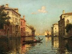 """Venice"" Bouvard 19th Century French Impressionist Blue Canal Gondola Scene"