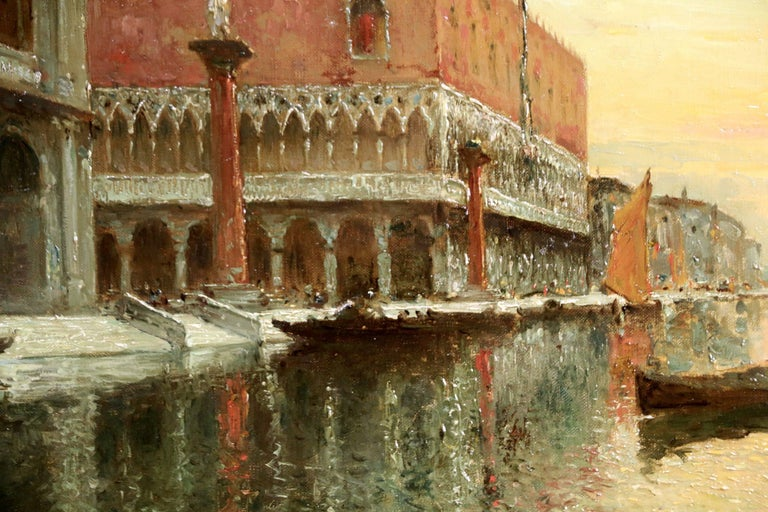Venice - Doges Palace - Sunset - Impressionist Painting by Antoine Bouvard Snr.