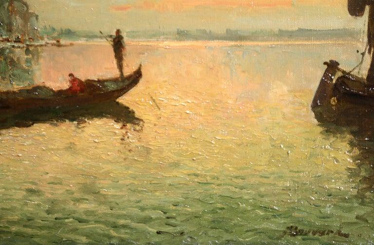 Venice - Doges Palace - Sunset - Beige Figurative Painting by Antoine Bouvard Snr.