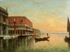 Venice - Doges Palace - Sunset - Impressionist Oil, Canal Landscape by A Bouvard