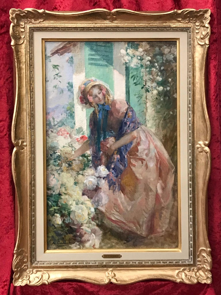 Antoine Calbet Landscape Painting - Elegant Lady in the garden