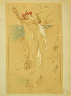 L'Inconnue - Original Lithograph by Antoine Calbet - 1897