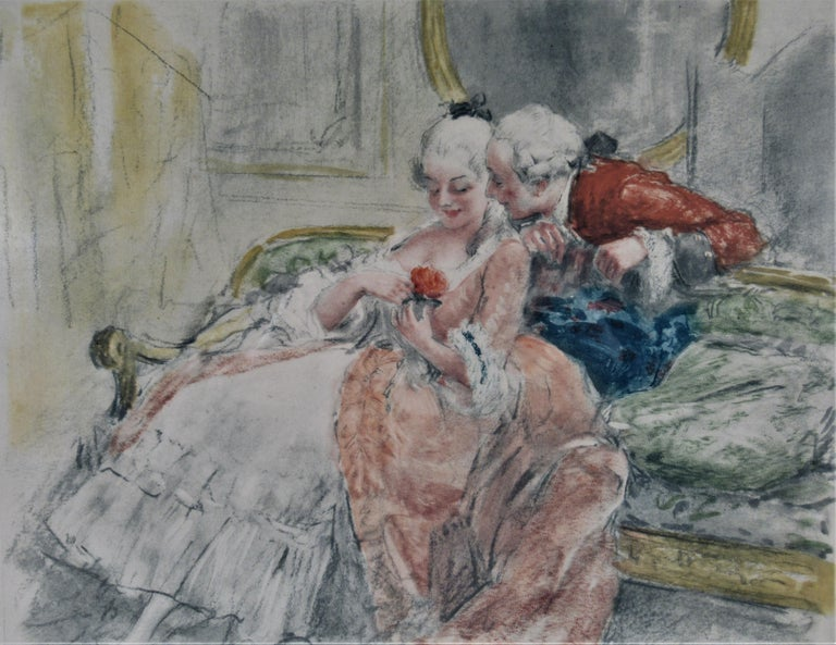 Scene Galante au XVIII eme Siecle #1 - Print by Antoine Calbet