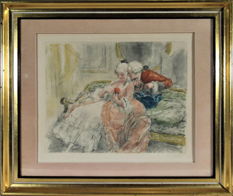 Antoine Calbet Figurative Print - Scene Galante au XVIII eme Siecle #1