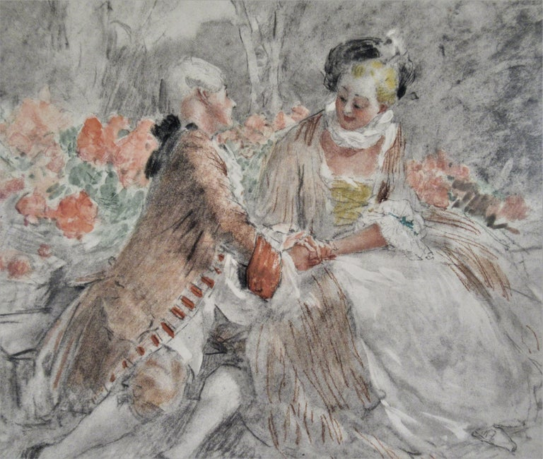 Scene Galante au XVIII eme Siecle #2 - Realist Print by Antoine Calbet
