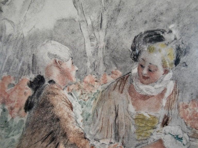 Scene Galante au XVIII eme Siecle #2 - Brown Interior Print by Antoine Calbet