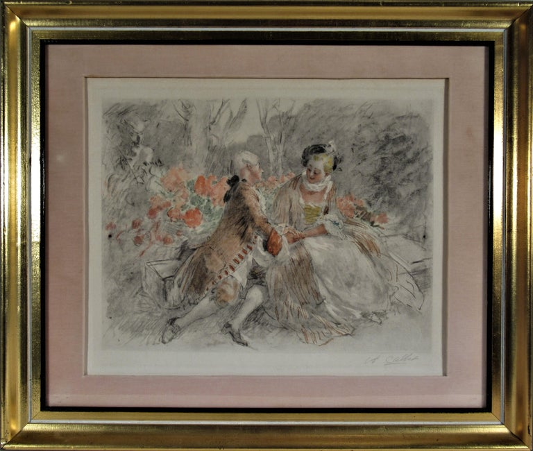 Antoine Calbet Interior Print - Scene Galante au XVIII eme Siecle #2