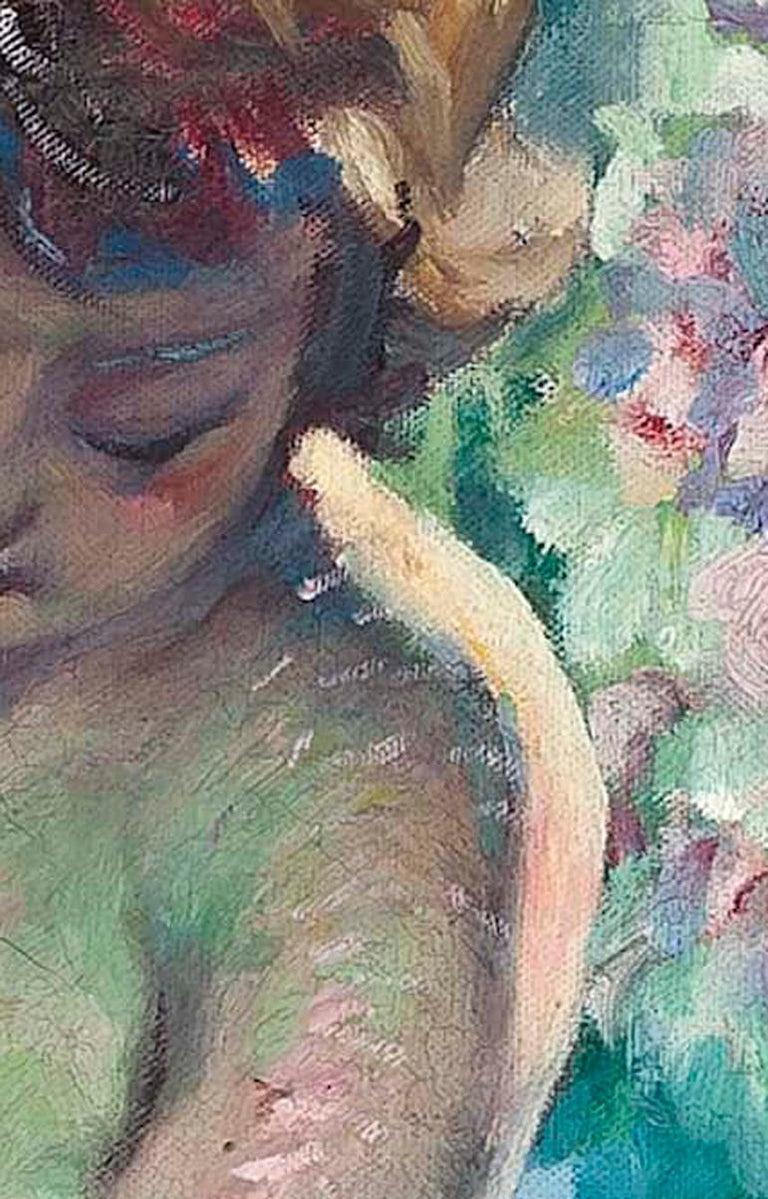 La Belle de l'ete, a beautiful early 20th Century Impressionist nude in a garden For Sale 5