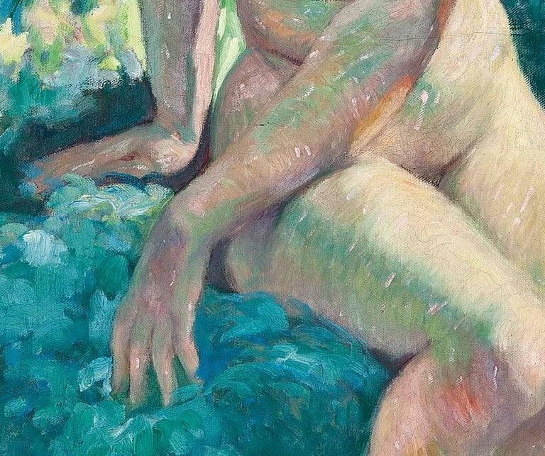 La Belle de l'ete, a beautiful early 20th Century Impressionist nude in a garden For Sale 6