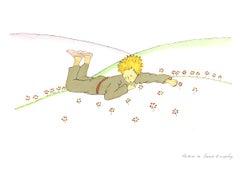 2009 Antoine de Saint Exupery 'Little Prince Dreaming (md)' Modernism Green,Yell