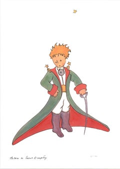 2015 Antoine de Saint Exupery 'The Little Prince and Red Cape' Modernism Red,Gre