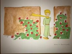 Le Petit Prince dans le jardin des Roses - Lithograph - 1900-1944 - Platesigned