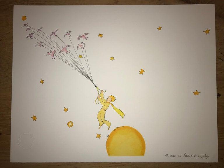Le Petit Prince en route vers une autre planète - Litho - 1900-1944 - Platesign  - Print by Antoine de saint Exupery