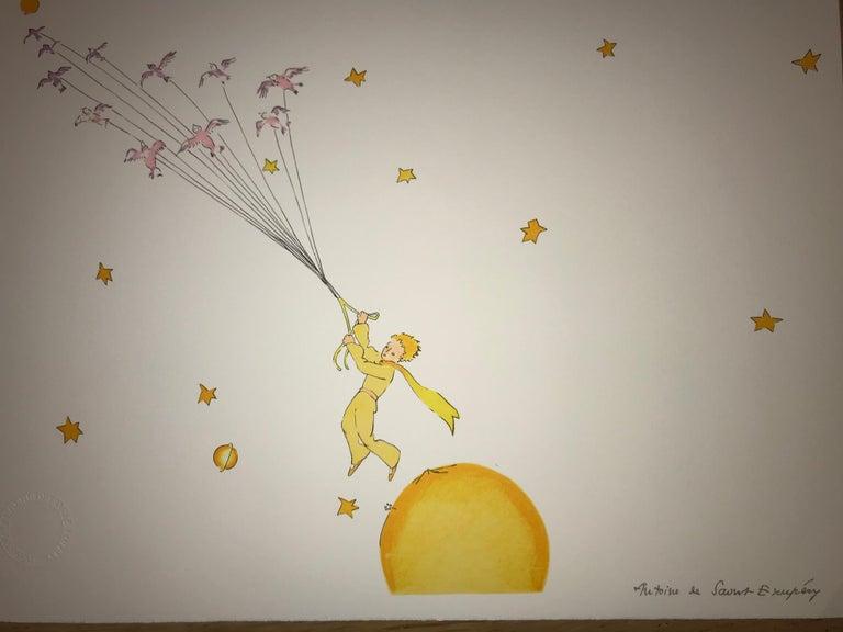 Antoine de saint Exupery Figurative Print - Le Petit Prince en route vers une autre planète - Litho - 1900-1944 - Platesign