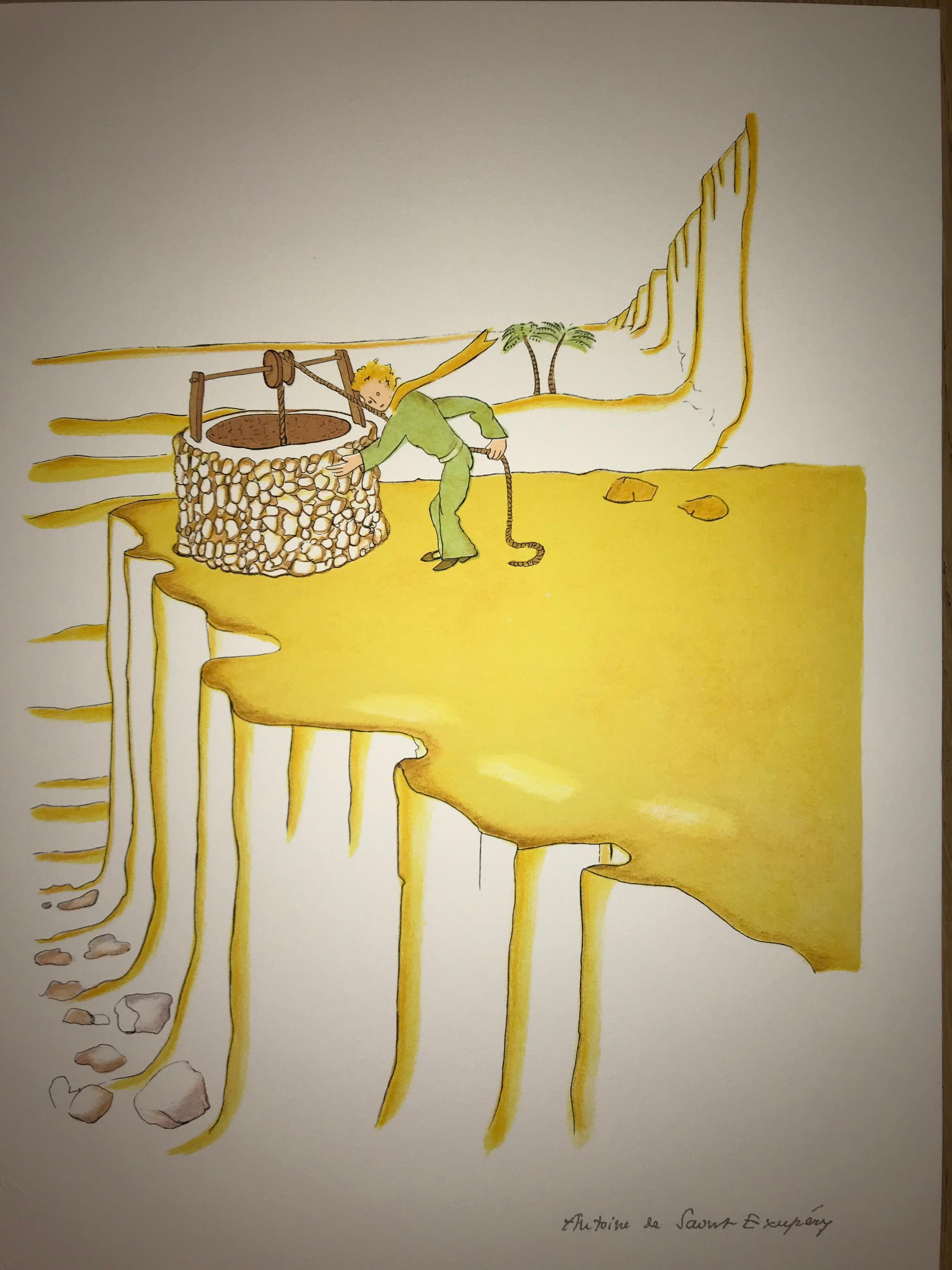 Le Petit Prince et le puit dans le désert - Lithogr - 1900-1944 - Platesigned