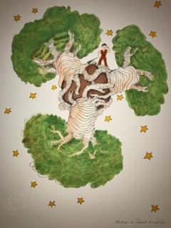 Le Petit Prince et les baobabs - Lithograph - 1900-1944 - Platesigned