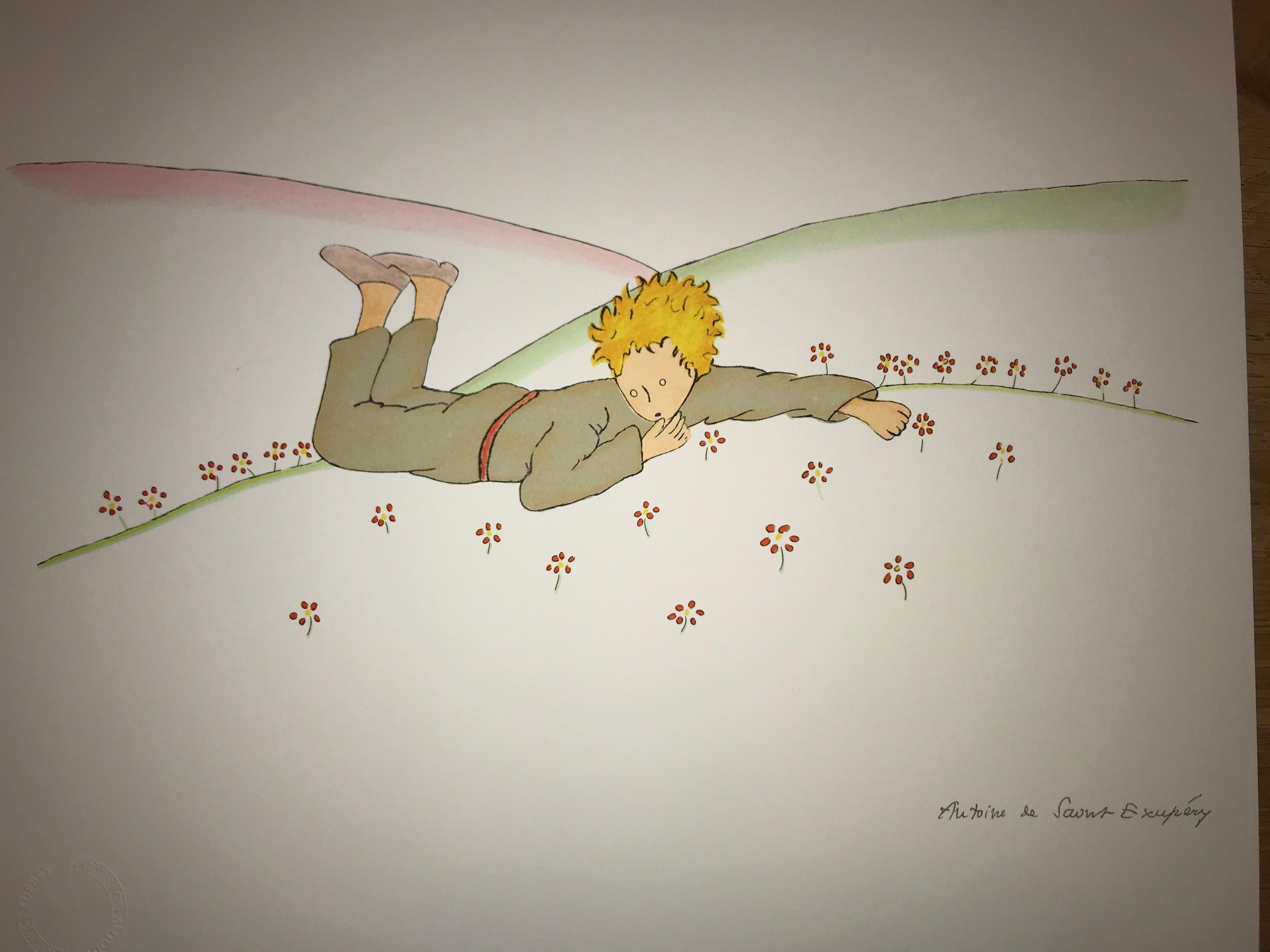 Le Petit Prince parmi les fleurs - Lithograph - 1900-1944 - Platesigned