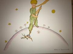 Le Petit Prince sur sa planète - Lithograph - 1900-1944 - Platesigned