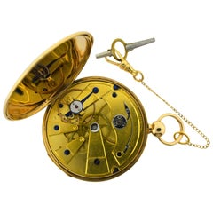 Antoine Lepine Rose Gold Ruby Cylinder French Pocket Watch, circa 178