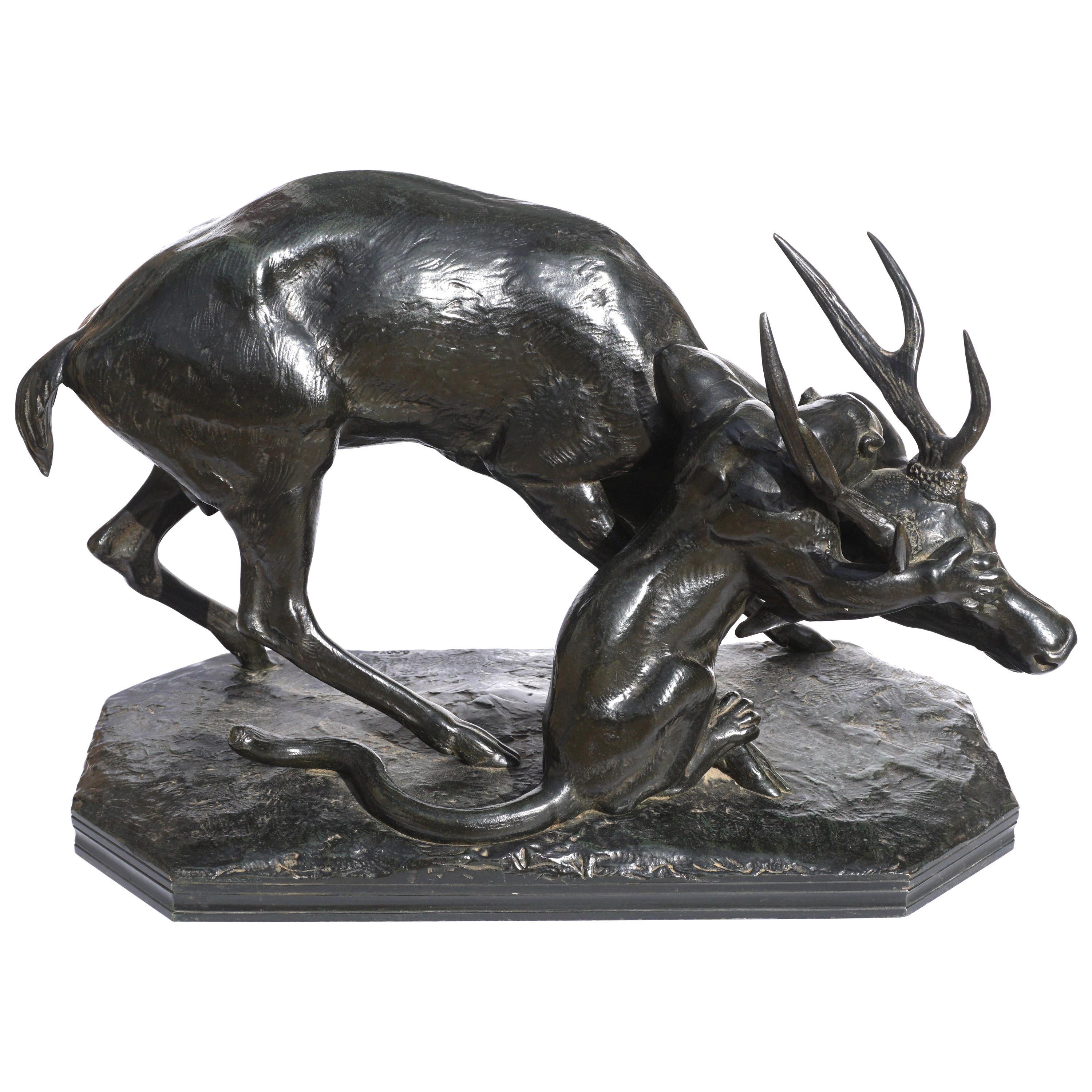 Antoine Louis Barye Bronze Panther Seizing A Stag, circa 1860