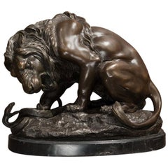 Antoine Louis Barye Napoleon III Brown Bronze and Marble French Sculpture, 1870