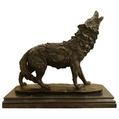 Antoine-Louis Barye Signed Bronze of a Howling Wolfe on a Marble Base