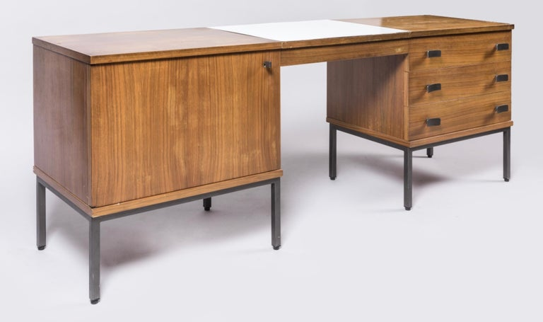 Mid-Century Modern Antoine Philippon and Jacqueline Lecocq Desk, in Rosewood 1965 For Sale