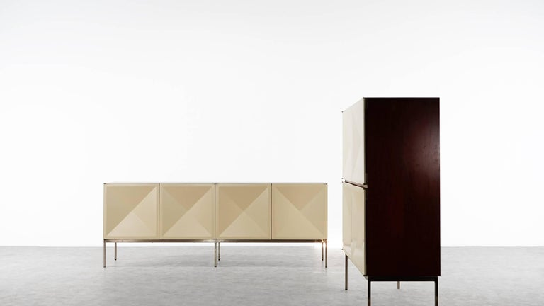 Sideboard with diamond shaped doors (pointe de diamant) designed by Antoine Philippon and Jacqueline Lecoq.  In nice condition. Manufactured by Behr, Germany, 1962. (Behr Stamp on the backside....photos are available)