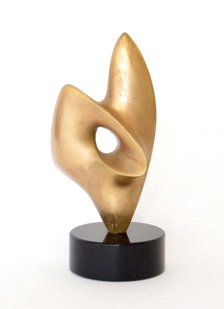 Mid-20th Century Antoine Poncet Gilt Washed Bronze Sculpture on Marble Base For Sale