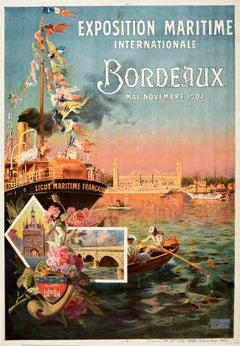Original Antique Poster Exposition Maritime Internationale Bordeaux 1907 France