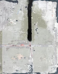 D-street, Contemporary Abstract Mixed Media Minimalist Art Grey Collage Canvas