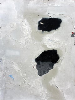 Gum, Contemporary Minimalist Abstract Mixed Media Gray White Black Collage Art