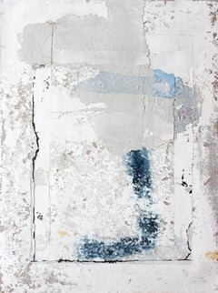 Gums II, Contemporary Abstract Mixed Media Minimalist Grey Blue Collage Canvas