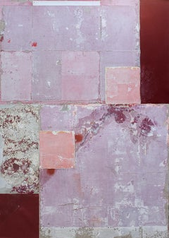 Napoléon ou burlat, Contemporary Abstract Mixed Media Painting Pink Red Collage