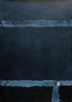 Night at Uwajima, Contemporary Minimalist Abstract Mixed Media Blue Dark Collage