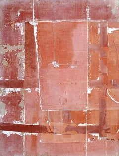People at Borders, Contemporary Minimalist Abstract Mixed Media Orange Collage
