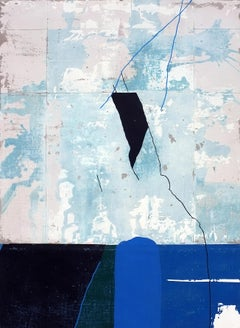 Rockpile, Contemporary Abstract Mixed Media Expressionist Blue Collage Canvas