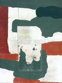 Seasonal, Contemporary Abstract Mixed Media Green Red Collage Canvas Geometric