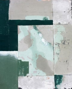 Swamp, Contemporary Abstract Mixed Media Green Collage Canvas Geometric Pattern