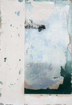 Tamarack, Contemporary Minimalist Abstract Mixed Media Green White Collage