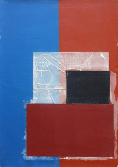Two tone car, Contemporary Abstract Mixed Media Blue Collage Canvas Geometric