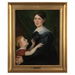 Antoine Wiertz, Portrait Mother and Child, Oil on Canvas, Framed