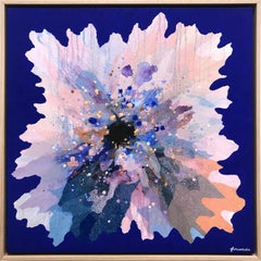 """Cobalt Periwinkle"" Contemporary Layered Mixed Media Floral Painting on Canvas"