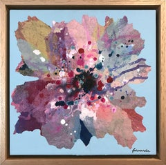 """""""Geranium"""" Contemporary Layered Mixed Media Floral Painting on Canvas"""