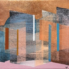 """""""Prism 24"""" Contemporary Layered Mixed Media Geometrical Painting on Canvas"""