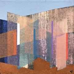 """""""Prism 30"""" Contemporary Layered Mixed Media Geometrical Painting on Canvas"""